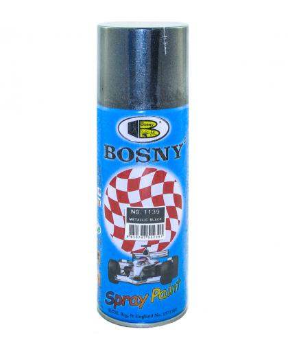 Краска аэрозольная Bosny Acrylic BS1139 Metallic black Черный металлик с металлическим эффектом 400 мл