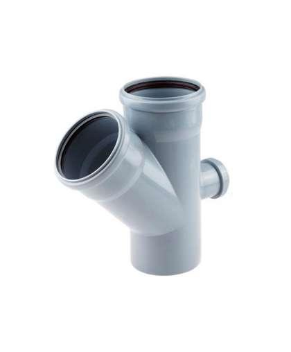 Крестовина двухплоскостная для внутренней канализации 45 градусов 110*110*50 мм тыл, РосТурПласт