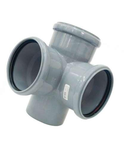 Крестовина двухплоскостная для внутренней канализации 87 градусов 110/110/110 мм, РосТурПласт