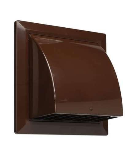 Вентиляционная решетка Storm фасадная 170*170 мм D125 мм с обратным клапаном и фланцем коричневая