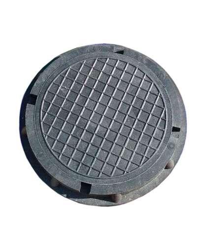 Люк полимерно-композит. круглый садовый малый черный 450х60, Л9