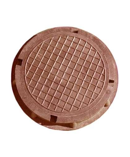 Люк полимерно-композит. круглый садовый малый коричневый 450х60, Л9