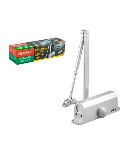 Доводчик дверной гидравлический Волат 35032-120 60-120 кг серебро
