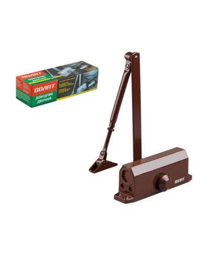 Доводчик дверной гидравлический Волат 35021-80 40-80 кг коричневый