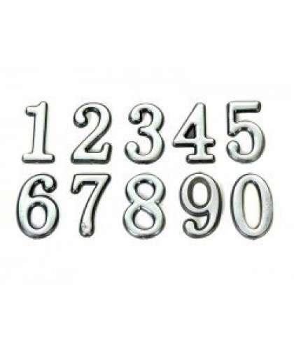Цифра дверная 0-9 Аллюр большая хром