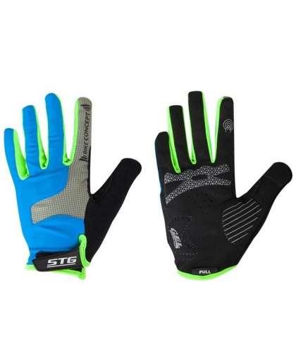 Велоперчатки STG Х98254-ХЛ AL-05-1871 синие/серые/черные/зеленые полноразмерные XL