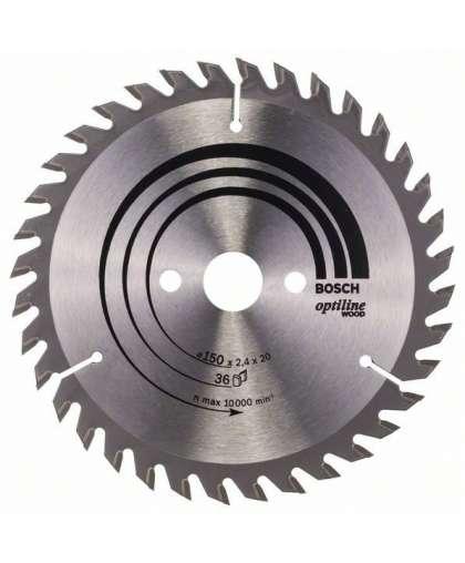 Диск пильный Bosch 150*20 мм 36 зубьев по дереву Optiline Wood 2608640593