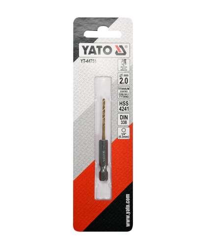 Бур-сверло Yato YT-44751 HSS-TiN2 мм по металлу с хвостовиком HEX
