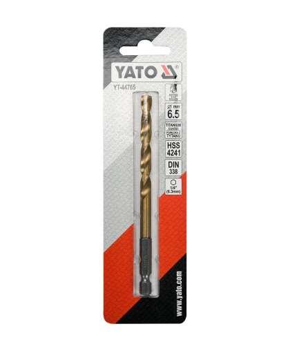 Бур-сверло Yato YT-44765 HSS-TiN 6.5 мм по металлу с хвостовиком HEX