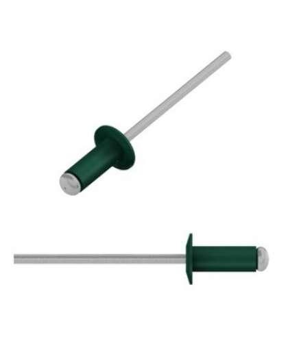 Заклепка вытяжная 3.2х8 мм алюминий/сталь, RAL 6005 (250 шт в пласт. конт.) STARFIX
