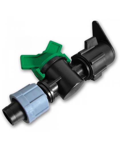 Старт-коннектор с краном для плоского шланга и капельной ленты КП-27, Bradas
