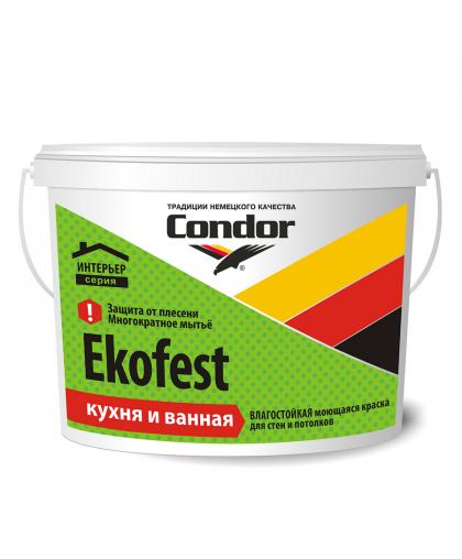 Краска Ekofest Кухня и ванная 5 л Белая, Condor