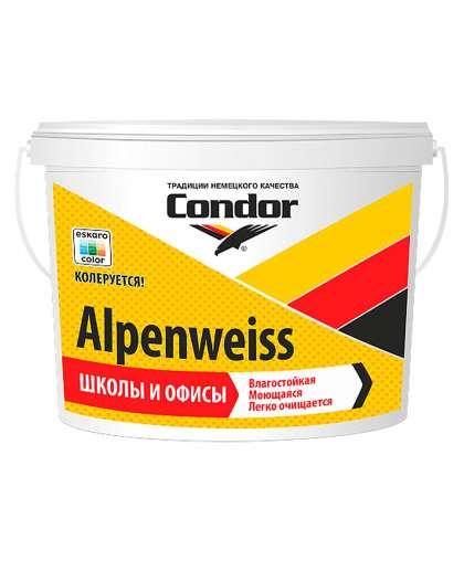 Краска Alpenweiss моющая 1 л Белая, Condor