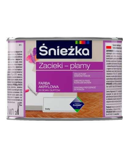 Краска Zacieki-Plamy для стен и потолков 0,4 л Белая, Sniezka