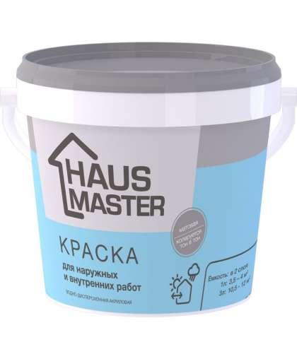 Краска HAUS MASTER для внутренних и наружных работ Белая 3 л, MAV