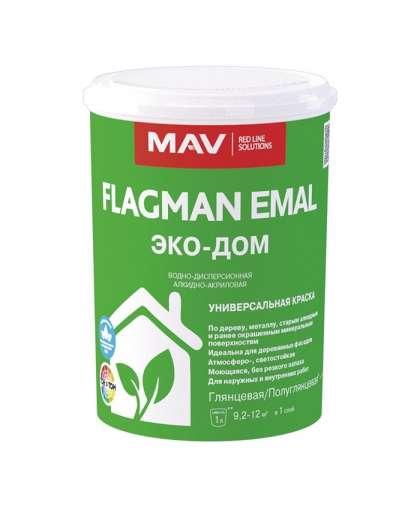 Краска Flagman Emal Эко-Дом Белая 1 л, MAV