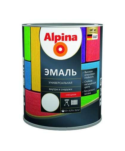 Эмаль Alpina универсальная глянцевая 0.75 л серая