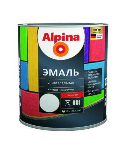 Эмаль Alpina универсальная глянцевая 2.5 л белая
