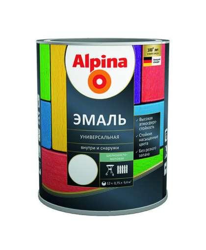 Эмаль Alpina универсальная полуматовая 0.75 л черная
