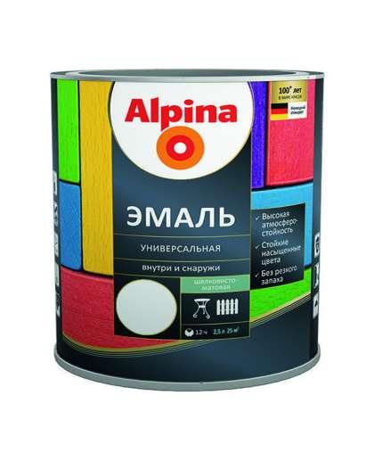Эмаль Alpina универсальная полуматовая 2.5 л белая