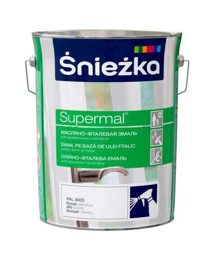 Эмаль масляно - фталевая Sniezka Supermal для дерева и металла 5 л белая