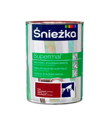 Эмаль масляно - фталевая Sniezka Supermal для дерева и металла 0.8 л вишневая