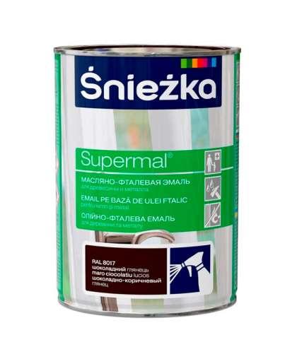 Эмаль масляно - фталевая Sniezka Supermal для дерева и металла 0.8 л коричневый шоколад