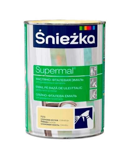 Эмаль масляно - фталевая Sniezka Supermal для дерева и металла 0.8 л слоновая кость