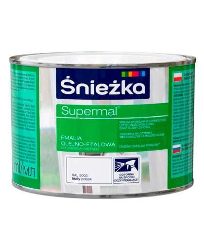 Эмаль масляно - фталевая Sniezka Supermal для дерева и металла 0.4 л белая