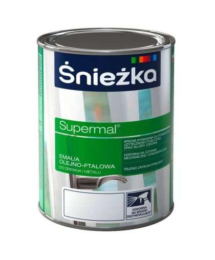 Эмаль масляно - фталевая Sniezka Supermal для дерева и металла 0.8 л светло - серая