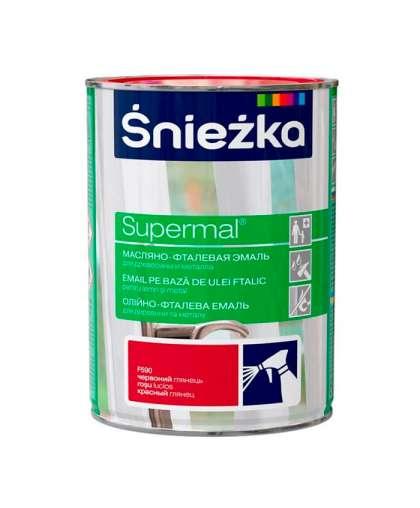 Эмаль масляно - фталевая Sniezka Supermal для дерева и металла 0.8 л красный