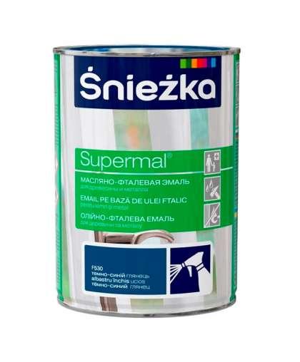Эмаль масляно - фталевая Sniezka Supermal для дерева и металла 0.8 л темно - синяя