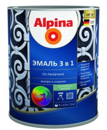 Эмаль Alpina по ржавчине 3 в 1 RAL9005 Черный 0.75 л