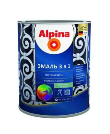 Эмаль Alpina по ржавчине 3 в 1 RAL1015 Слоновая кость 0.75 л
