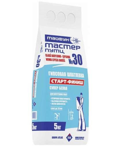 Шпатлевка Тайфун Мастер №30 Старт-Финиш белая гипсовая 5 кг