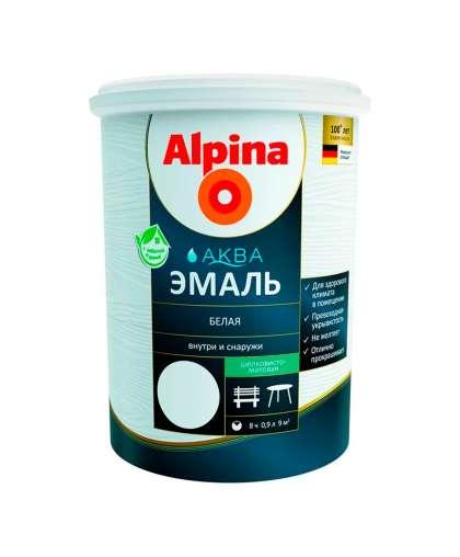 Эмаль Alpina Аква шелковисто - матовая 0.9 л белая