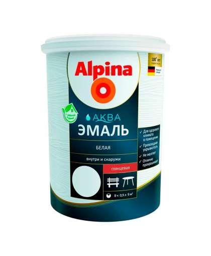 Эмаль Alpina Аква глянцевая 0.9 л белая