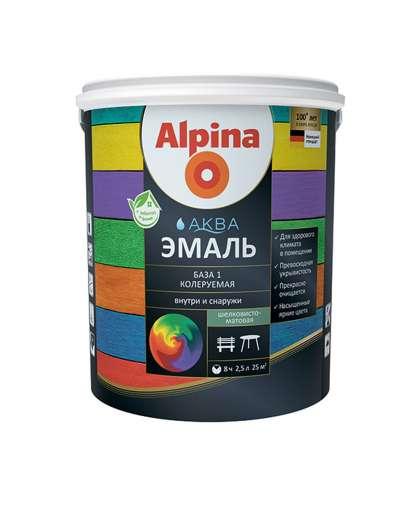 Эмаль Alpina Аква База 1 шелковисто - матовая 2.5 л белая