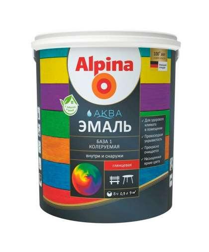 Эмаль Alpina Аква база 1 глянцевая 0.9 л белая