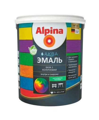 Эмаль Alpina Аква база 1 шелковисто - матовая 0.9 л белая