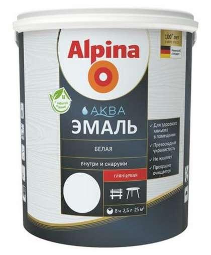 Эмаль Alpina Аква 2.5 л Белая глянцевая