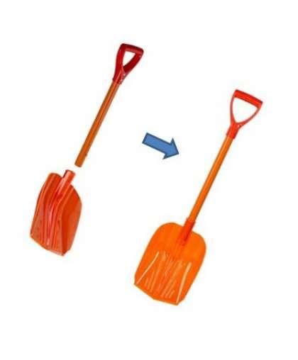 Лопата автомобильная со сьемной ручкой оранжевый флюр