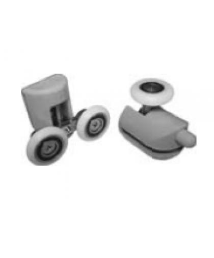 Ролик для душ/каб. к-кт на одну дверь, 2 верхних двойных, 2 нижних одинарных, диаметр колесика 23 мм