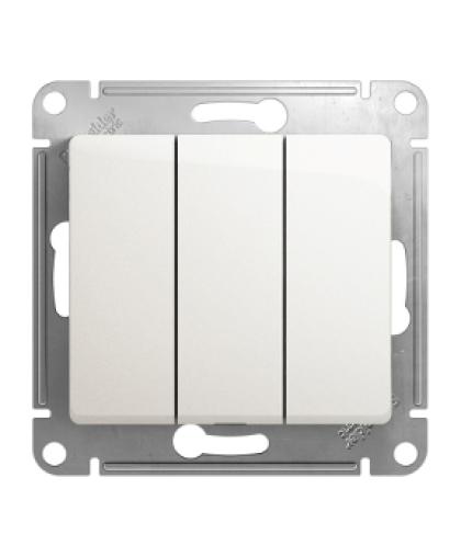 Выключатель Glossa GSL000631 3 клавиши без подсветки перламутр, Schneider Electric