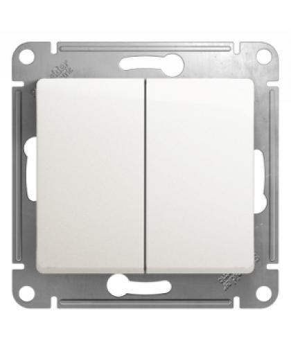 Выключатель Glossa GSL000651 2 клавиши без подсветки перламутр, Schneider Electric