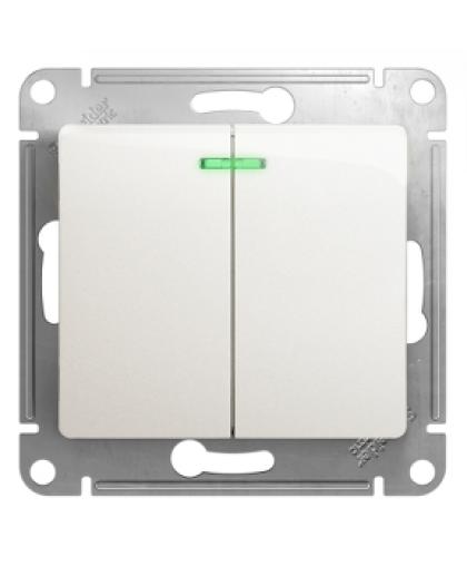 Выключатель Glossa GSL000653 2 клавиши с подсветкой перламутр, Schneider Electric
