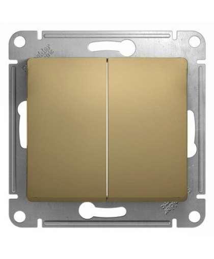 Выключатель Glossa GSL000451 2 клавиши без подсветки титан, Schneider Electric