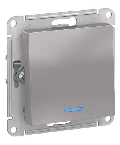 Выключатель AtlasDesign ATN000313 1 клавиша с подсветкой алюминиевый, Schneider Electric