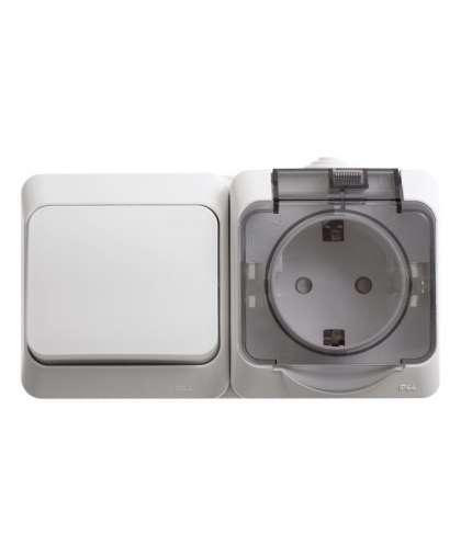Блок Этюд BPA16-241B розетка с заземлением + выключатель 1 клавиша белый, Schneider Electric