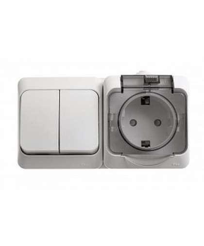Блок Этюд BPA16-242B розетка с заземлением + выключатель 2 клавиши белый, Schneider Electric